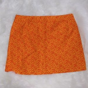 J.Crew Orange Leaf Print Cotton Mini Skirt